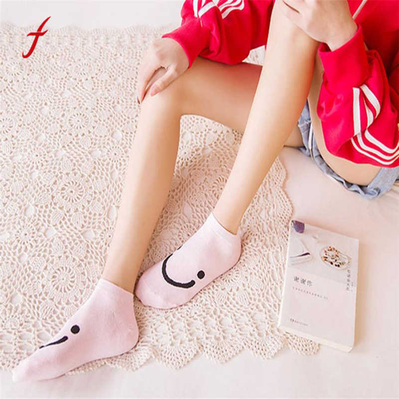 feitong 2018 1 Pairs Sock New Fashion Harajuku Women Smile Print Candy Color Cotton Sock Slippers Short Ankle Socks