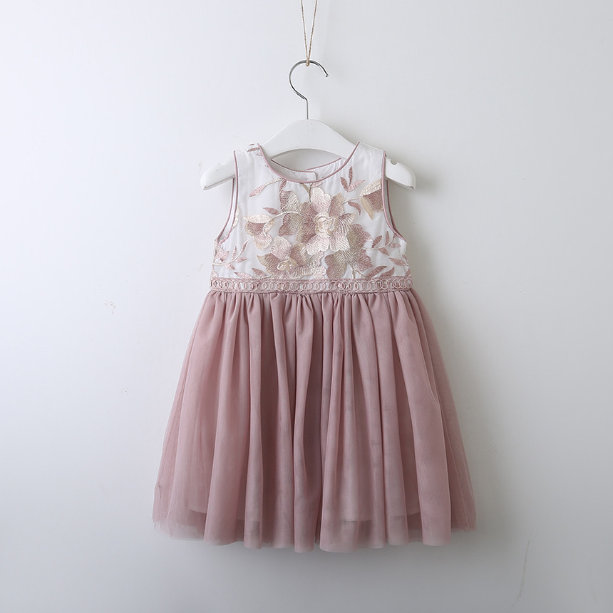 46f5d59aacc 2019 Summer Baby Girls Vest Princess Dresses Embroidery Floral Organza Kids  Sleeveless Dress Children Costumes Vestido