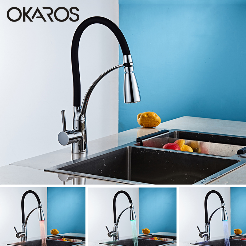OKAROS Kitchen LED Light Sink Faucet Brass Chrome Plated Kitchen Faucets Black Hot Cold Deck Mounted Bath Mixer Tap C043