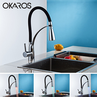 OKAROS Bathroom LED Light Basin Faucet Pull Out Brass Chrome Plated Basin Faucets Black Hot Cold