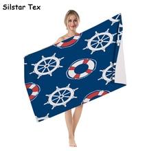 Silstar Tex Geometric Ship Pattern Wrap ShowerBlue Bath Sports Towel Sailing Starfish Rudder Seaside Bikini Cover Up geometric pattern split cover up