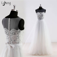 Simple Cheap Wedding Dress White Lace A Line Hobo Outdoor Travel Beach Garden Wedding Maxi Gowns