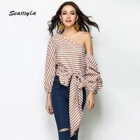 Seamyla 2017 New Arrival Winter Runway Tops Sexy One Shoulder Blouses Wear Elengent Women Fashion Puff Sleeve Clubwear Blouse