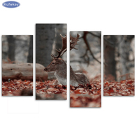 Dear on red leaves/set of 4 canvas, Diy Diamond Embroidery,Diamond Painting Cross Stitch,Full Square Diamond Mosaic picture gift