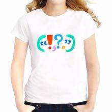 Punctuation design t shirts feminina jollypeach brand new summer Tees shirt soft Breathable tshirt Short Sleeve T-Shirts femme
