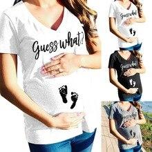 Puseky беременных материнство v-образным вырезом футболки шорты Повседневная Одежда для беременных письмо женская одежда для беременных Повседневная футболка