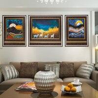 Замечательный звездное небо в сочетании стены масла Картины Домашний декор для Гостиная модульная фотографии