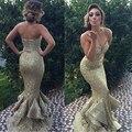 Vestido de noche largo 2017 nueva llegada vestidos formales de moda abendkleider oro brillante de encaje lentejuelas volantes de cola de pescado