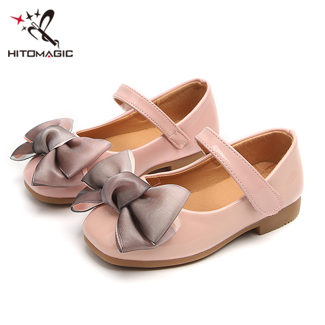 HITOMAGIC Girls Leather Shoes Children Kids Princess Shoes 2018 Spring Cute  Pink With Bow Baby Summer Footwear Toddler Size 3 e73ff2b5c4a9
