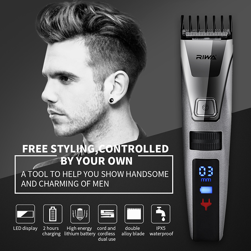 Riwa LED Display Professional Electric Men's Hair Trimmer Cutter Rechargeable Haircut Cutting Machine Clipper for Adult Children