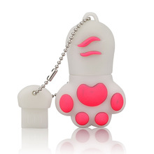 J-boxing White USB Flash Drive 32GB Lovely Cat Claws Pendrive 16GB Memory Sticks Women 64GB Thumb for Computer Mac Tablet