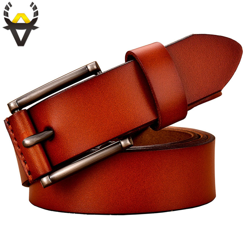 Fashion Genuine leather   belts   for women High quality Pin buckle thin woman   belt   Casual jeans strap Good Second layer cowskin Red