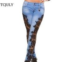 TCJULY Moda Siyah Dantel Spliced Skinny Jeans Kadınlar Seksi Kot pantolon Pantolon Anne Kot Oymak Artı Boyutu Pamuk Denim kot