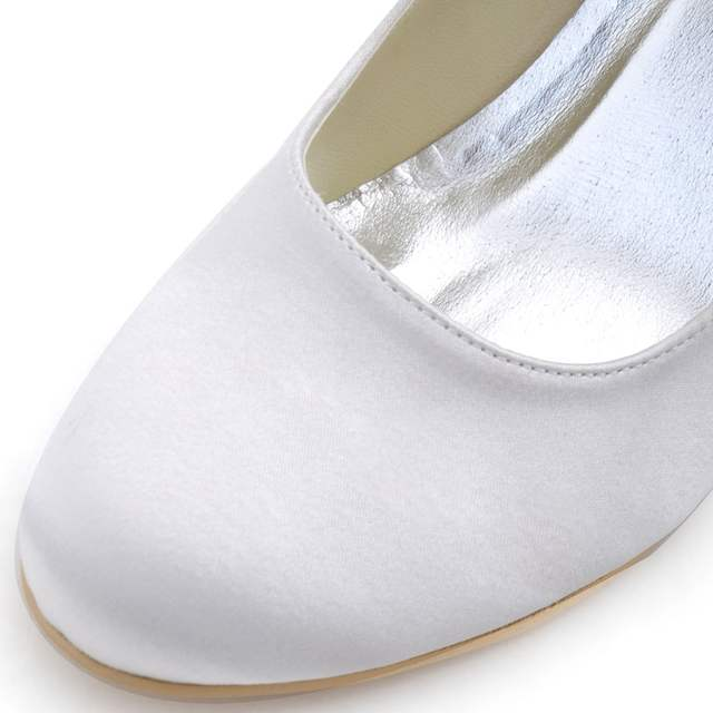 ivory white woman wedges shoes wedding Bridal high heel ankle strap Pumps  Comfort round toe satin 3e8ecaef9766