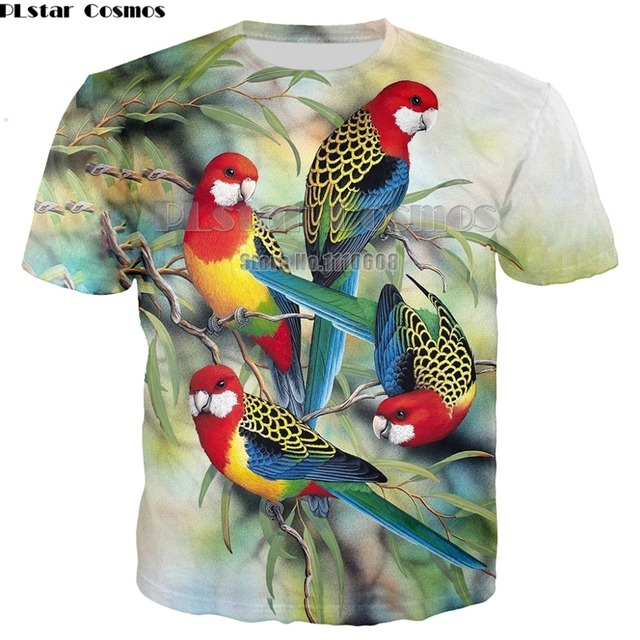 d6e3cea6 Summer Men Casual Tees Red Parrot 3d Print T Shirt Men/Women Hip Hop T-shirt  Tee shirt Cool Clothing Unisex 7XL