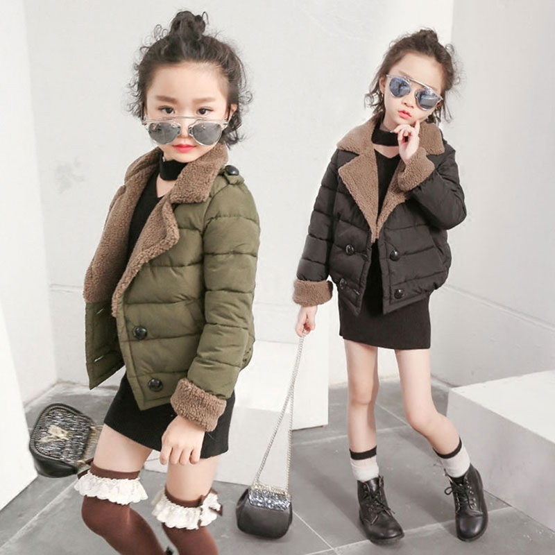 Fashion Autumn Cotton Short Jacket for Children's Warm Outerwear Girls Coat Fleece Kids Girl Clothing Clothes High Quality 4-12T