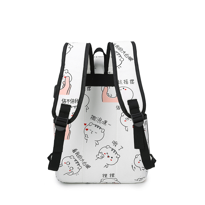 3 Pcs/set Usb Charging Canvas Women Backpack Printing School Backpacks Schoolbag For Teenagers Student Book Bag Girl Boy Satchel #4