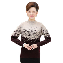 2016 Womens Sweater Middle-aged Women's Plus Size Easing Sweater Knit Pullover Sweater Thick Warm Cashmere Sweater Women lz1010
