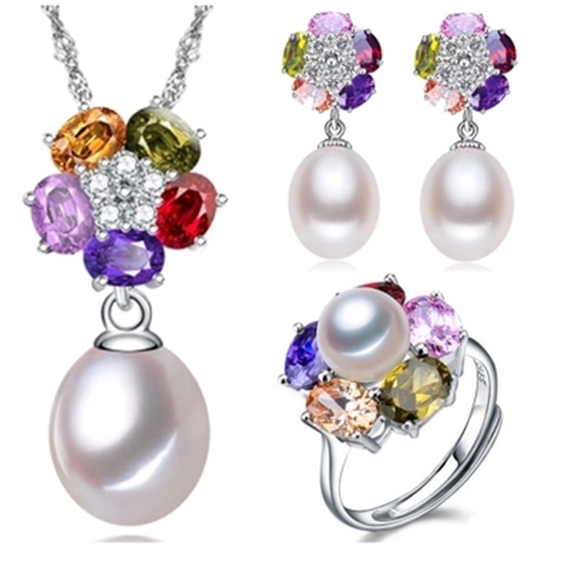 ニンフ真珠の宝石セット 925 スターリングシルバージュエリー本物の天然真珠のネックレスペンダントイヤリングリングカラフルな T002  グループ上の ジュエリー & アクセサリー からの ジュエリーセット の中 1