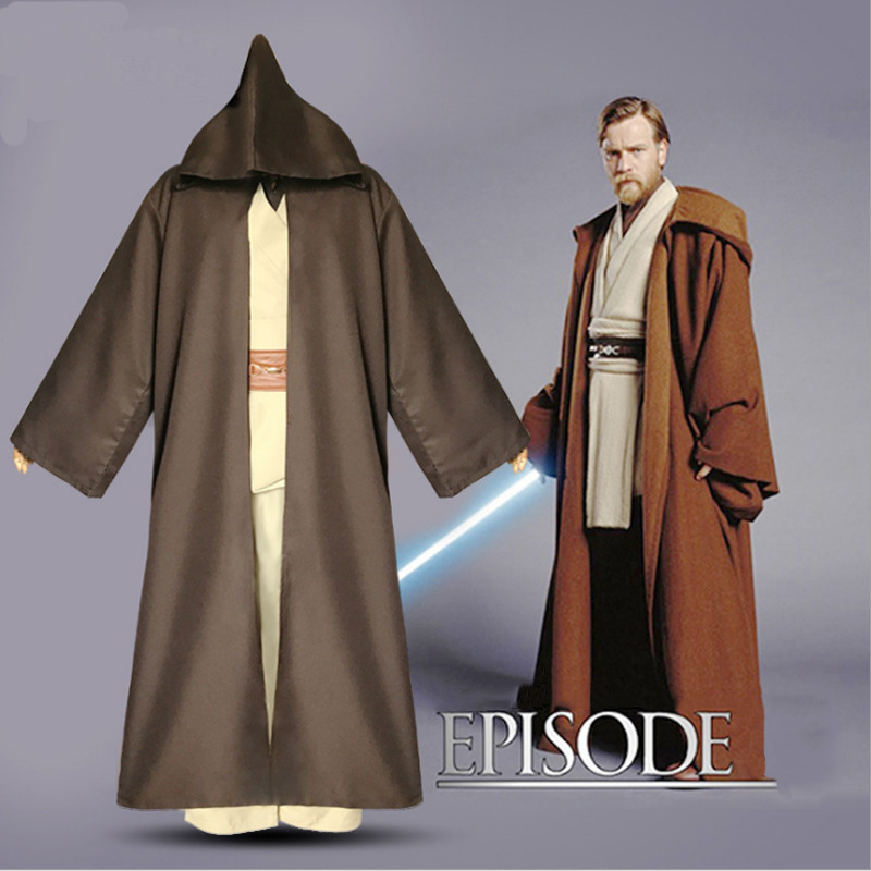 Newest Star War Cos Costume Jedi Knight Obi-Wan Clothing+Cloak Sets Carnival Party Clothes Anakin Skywalker for Adult Kids star wars obi wan and anakin