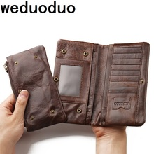 Weduoduo 100% Genuine Leather Men Wallets Brand Vintage Men Long Wallet Luxury Purses Coin Pocket Money Bags Credit Card Holders famous brand leather wallets men casual solid short designer male purses with credit card holders dollar money bags for gifts