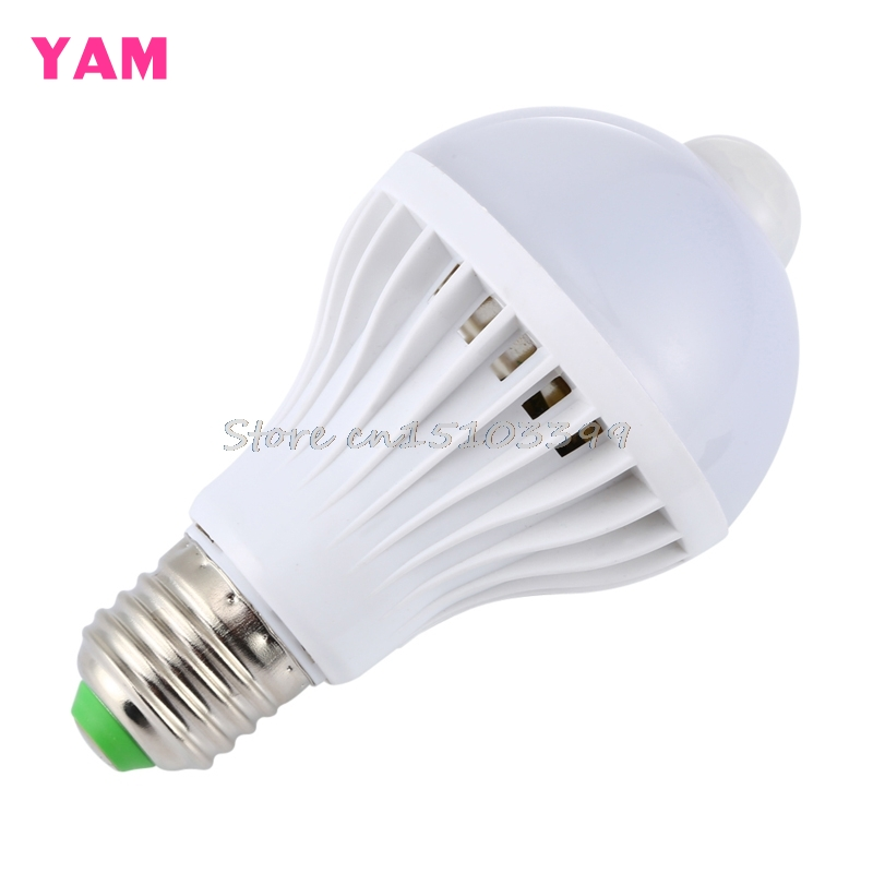 e27 5w 7w 9w led pir motion sensor auto energy saving light lamp bulb infrared works in the. Black Bedroom Furniture Sets. Home Design Ideas