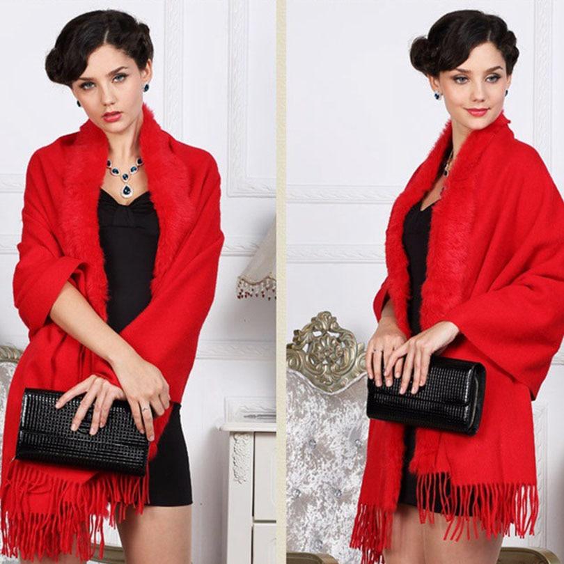 Women Pashmina   Scarves     Wraps   fur Shawl 2018 Winter 100% Natural Fur Scarfs Fashion Coat Sweater   Scarves   Thick Long