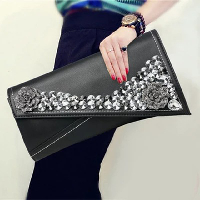 Female Flower diamond evening bag Genuine Leather women clutch bag female fashion handbag Ladies shoulder bag purse envelope bag