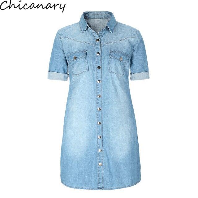 e026c3a8294b4e Chicanary Vrouwen Mode Half Mouw Lange Denim Shirt Jurk Vintage Casual  Revers Knop Blouse Tuniek Jurk