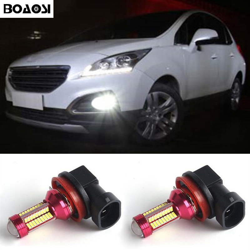 BOAOSI 2x Led Car Fog Light Bulb For Peugeot 3008 2011-2013 Peugeot 407 2008 Peugeot 301 2013-2014 Car Accessories boaosi 2x car led 9006 hb4 2835 66smd light bulb auto fog light driving lamp light for subaru wrx vs sti 2008 2013