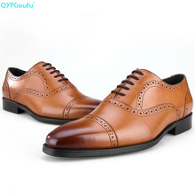 Brand 100% Genuine Leather Finger Cap Shoes Men Oxfords Quality Handmade Designers Formal Business Dress