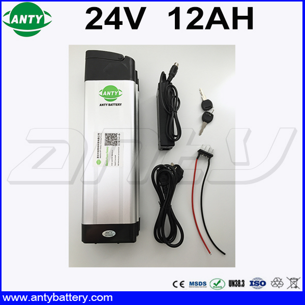 24v Silver Fish Li ion Battery Pack 24v 12Ah Lithium Battery for Electric Bike Built in 15A BMS with 2A Charger Free Shipping 30a 3s polymer lithium battery cell charger protection board pcb 18650 li ion lithium battery charging module 12 8 16v