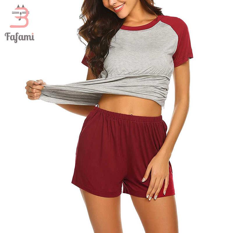 פיג 'מה סט לנשים בהריון יולדות הלבשת סיעוד בגדי קיץ כותנה הנקה Nightwear בית ללבוש חולצות + מכנסיים קצרים