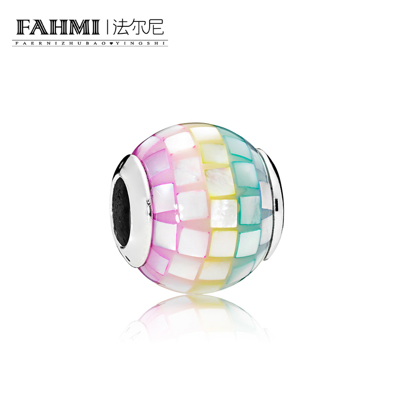 FAHMI 100% 925 Sterling Silver Genuine Fun Mosaic Charm Beaded Fit DIY Bracelet Original Women JewelryFAHMI 100% 925 Sterling Silver Genuine Fun Mosaic Charm Beaded Fit DIY Bracelet Original Women Jewelry