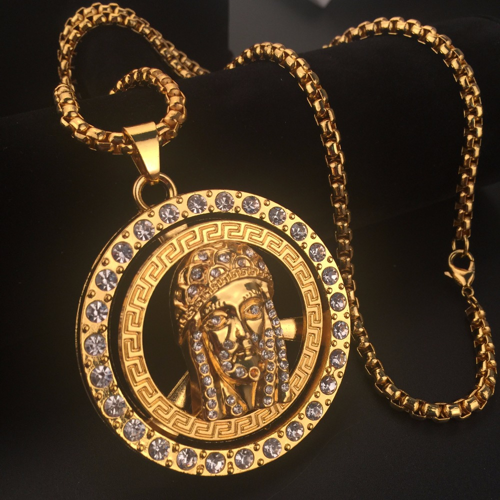 New 24k Golden Iced Out Bling Rotate Jesus Head Piece