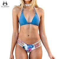 PLAVKY 2018 Sexy Halter Màu Xanh Hoa Biquini Chuỗi Strappy Bơi Mặc Đồ Tắm Phù Hợp Với Swimsuit Thong Đồ Bơi Phụ Nữ Mặc Bikini Brazil