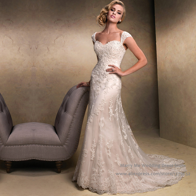 Best Sell Ivory Wedding Dresses Lace Cap Sleeve A Line Bridal Gowns ...