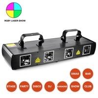 Четыре объектива сильный RGBY лазерное шоу системы этап дисковечерние тека Рождество украшения лазерные лучи DMX DJ оборудование проекта 500 м