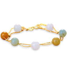 18K Yellow Gold 7-8mm Natural Amazon Stone Beaded Charm Bracelet Bangles Wedding Jewelry Women Gold Chain Link Bracelet leouerry 925 sterling silver natural moonstone aquamarine stone bracelet charm 18k gold link chain bracelet women fine jewelry