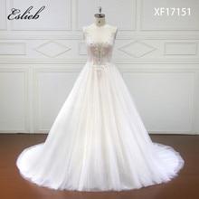 Eslieb High-end specialtillverkade Deep V Bridal Boho Bröllopsklänning 2018 Pärlor Crystal Bröllopsklänningar Domstolståg vestidos de noiva