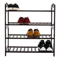 Novo Sobre O Organizador Da Sapata Porta Bambu Concisa 12 Sarrafo 4 Camadas Sapato Rack de Armazenamento Prateleira de Exposição Titular Sapato gabinete de rack|Racks e suportes de armazenamento| |  -