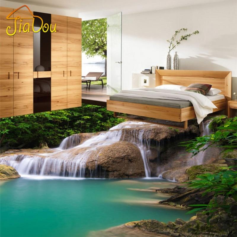 Aliexpress Benutzerdefinierte 3D Wandbild Tapete Natur Wasserfall Pvc Boden Aufkleber Schlafzimmer Wohnzimmer Bad PVC Selbstklebende