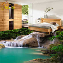 Custom 3D Mural Wallpaper Nature Waterfall PVC Floor Stickers Bedroom  Livingroom Bathroom Floor PVC Self Adhesive Wallpaper 3D
