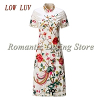 LOW LUV spring new high quality Chinese traditional dress lady cheongsam Slim embroidery fashion qipao dress ladies clothing