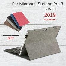 Capa flip para microsoft surface pro 3, capa multi angular à prova dágua, concha macia, compatível com teclado para superfície pro3