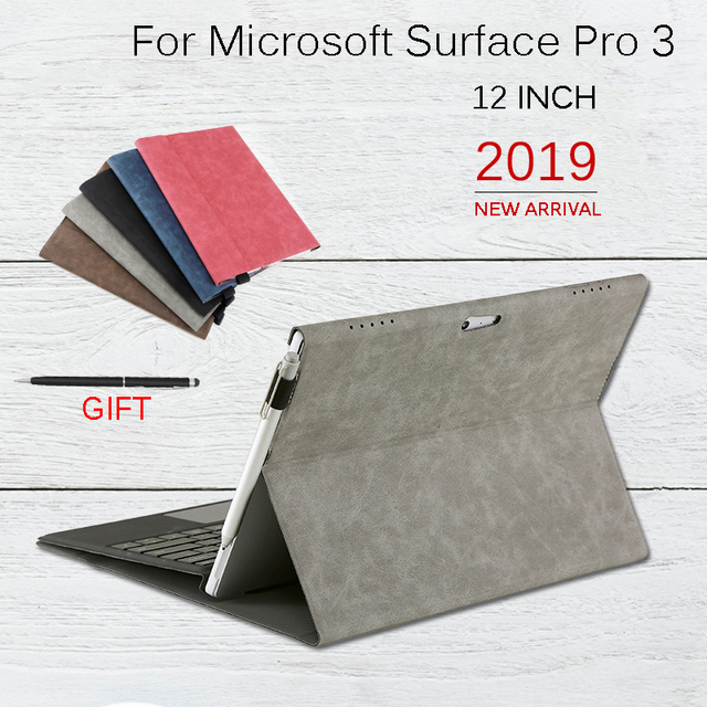 Flip Case for Microsoft Surface Pro 3 Multi Angle Stand Cover Waterproof Soft Shell Compatible with Keyboard for Surface Pro3