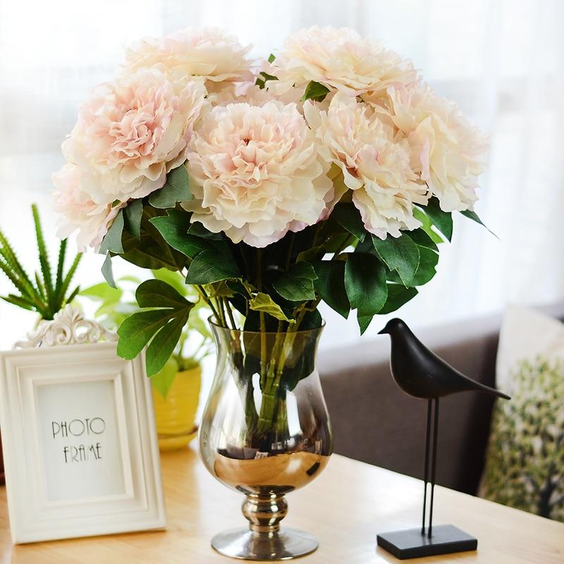 Artificial Flowers Bouquet Peony Silk Flower European 5 Heads Big Peonies Fall Vivid Fak ...