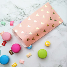 100pcs Party Favor Bag Blush Pink Foil Gold Heat Candy Paper Bags Snack Sweet Packing for Baby Shower 1st Birthday Treat