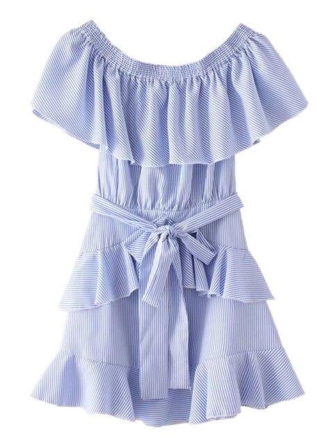 2017 Nowych Moda Lato Krótkie Mini Sukienka Niebieski Stripe Off Ramię Ruffle Tie Wasit Skater Dress