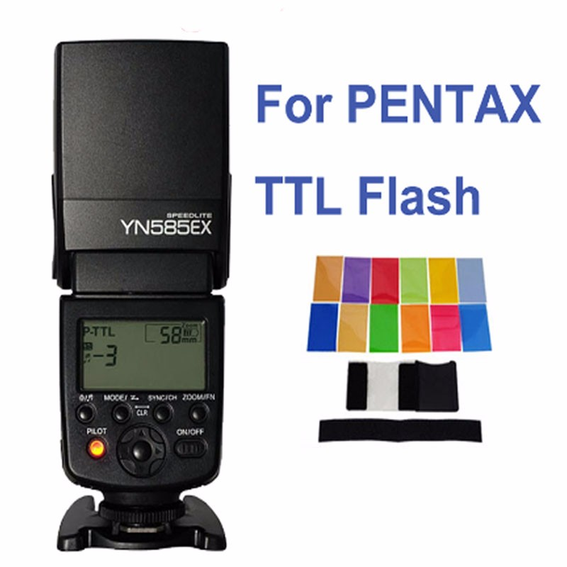 Yongnuo Wireless Flash Speedlite YN585EX P-TTL for Pentax K1 K3 K3II K5 K5II K-5IIs K70 K50 K30 KS2 KS1 DSLR Camera&Color Filter amopofo 500mm f6 3 32 telephoto lens for pentax k10d k20d k7 k5 kr km kx k30 k50 camera